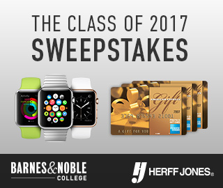 Picture of Apple Watches and American Express gift cards. The Class of 2017 Sweepstakes presented by Barnes & Noble College and Herff Jones. Click to enter.