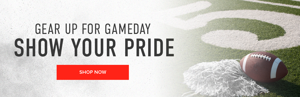 Picture of football field. Gear up for gameday. Show your pride. Click to shop now.