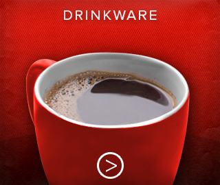Picture of a full coffee mug. Click here to shop for drinkware.